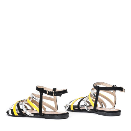 Czarne sandały z kolorowymi paseczkami Gala - Obuwie