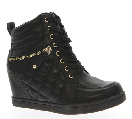Czarne sneakersy na koturnie - Obuwie