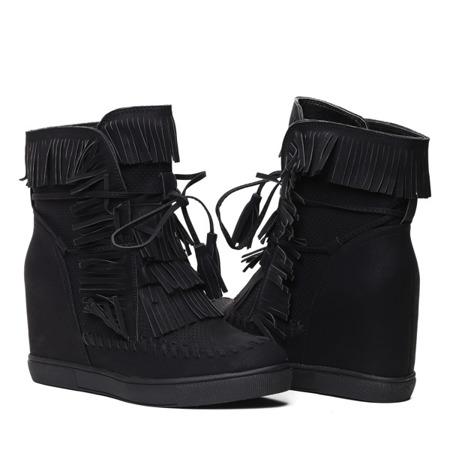 Czarne sneakersy na krytym koturnie Emerson - Obuwie