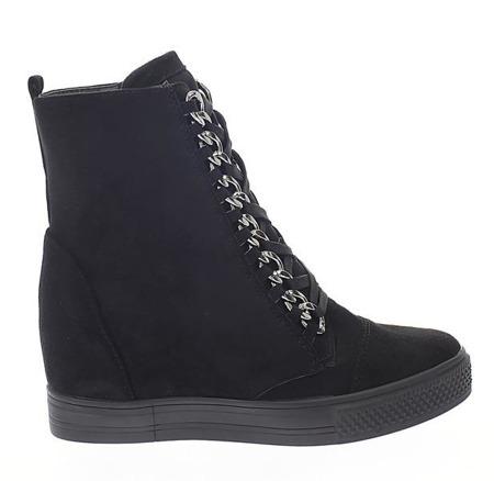 Czarne sneakersy na krytym koturnie Savanetha - Obuwie