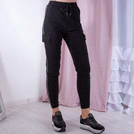 Czarne spodnie cargo - Spodnie