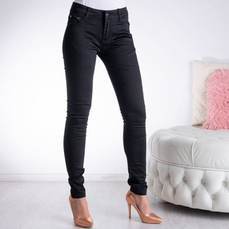 Czarne spodnie z długimi nogawkami - Spodnie
