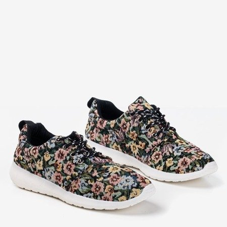 Czarne sportowe buty damskie w kwiatki Floena - Obuwie