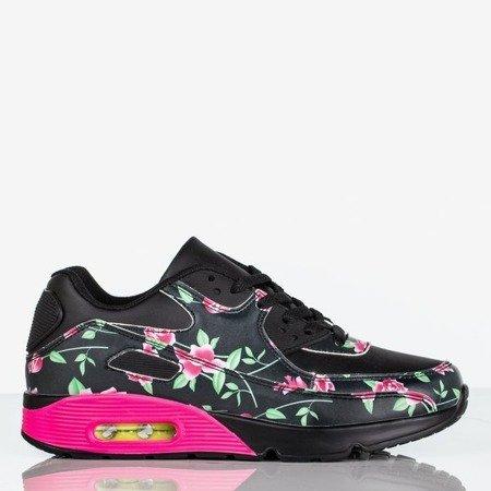 Czarne sportowe buty damskie z kwiatowym printem Full Bloom - Obuwie