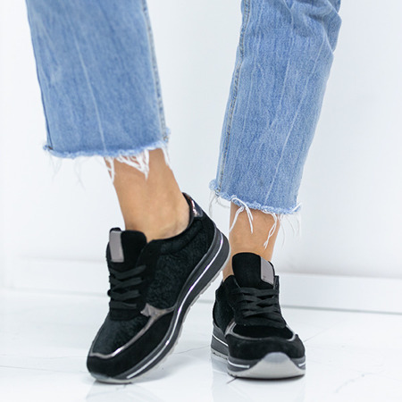 Czarne sportowe buty z welurem Jessy - Obuwie