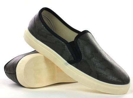 Czarne, sportowe trampki slip on - Obuwie