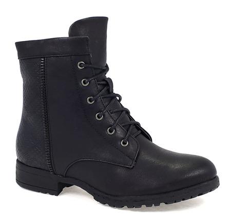 Czarne sznurowane botki  - Obuwie