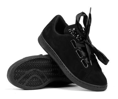 Czarne tenisówki z cyrkoniami - Obuwie