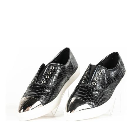 Czarne tenisówki z metalicznym noskiem Kelilah - Obuwie