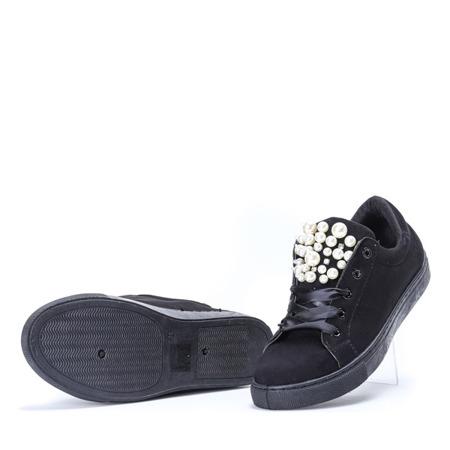 Czarne tenisówki z perełkami i cyrkoniami Cecilyn - Obuwie