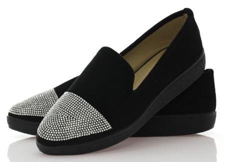 Czarne trampki slip-on - Obuwie