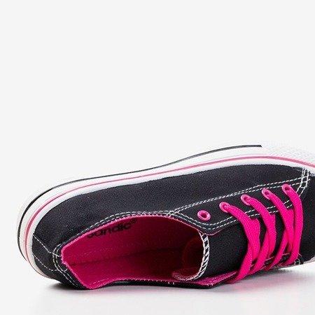 Czarne trampki z różowymi sznurówkami Fips - Obuwie