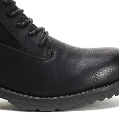 Czarne, wiązane botki a'la traperki - Obuwie