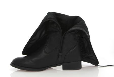 Czarne wiązane kozaki Dedora - Obuwie