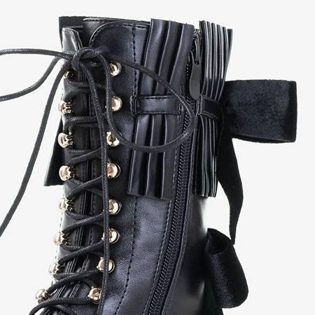 Czarne wysokie workery damskie z dżetami Cilecy - Obuwie