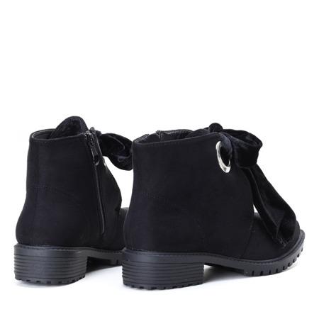 Czarne, zamszowe botki Natalien - Obuwie