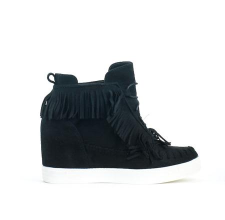 Czarne, zamszowe sneakersy z frędzlami - Obuwie