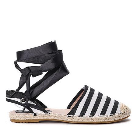 Czarno-białe espadryle w paski Keana - Obuwie