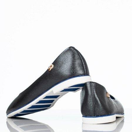 Czarno-niebieskie baleriny z przypinką Fides - Obuwie