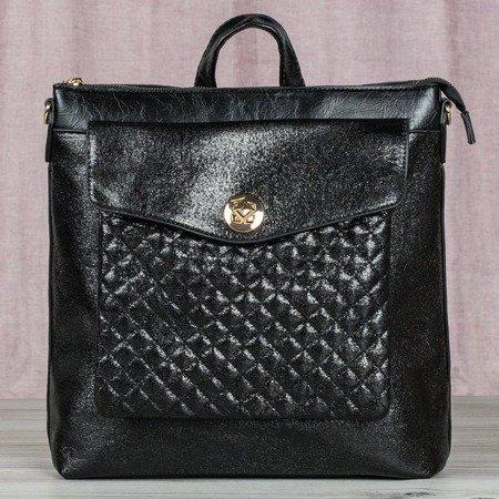 Czarny plecak ze błyszczącej skóry eko - Plecaki