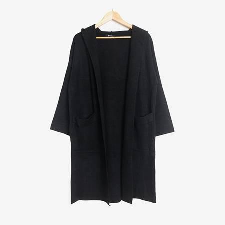 Czarny sweter kardigan z kapturem - Odzież
