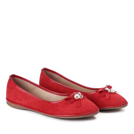 Czerwone baleriny z kokardką Braila - Obuwie