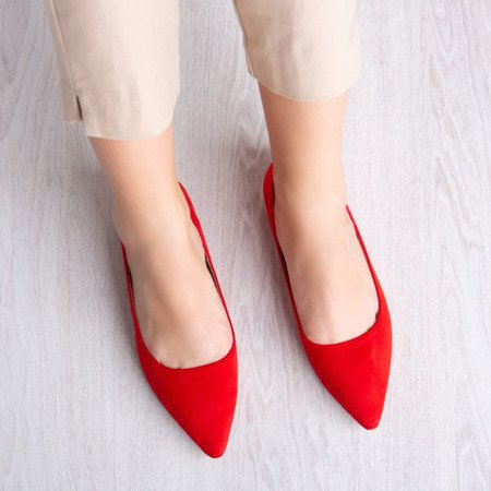 Czerwone baleriny ze szpicowatym noskiem Revissela - Obuwie