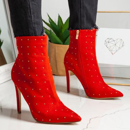 Czerwone botki na szpilce z dżetami Audrey - Obuwie