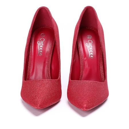 Czerwone czółenka zdobione brokatem Cassidy- Obuwie
