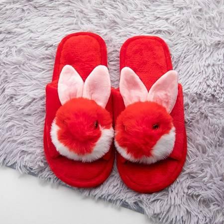 Czerwone damskie kapcie z króliczkiem Vixis - Obuwie