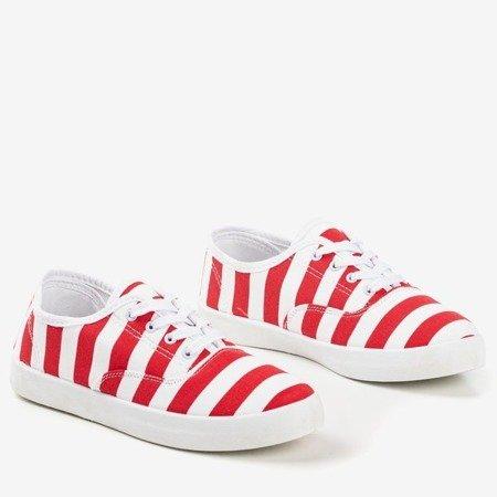 Czerwone damskie tenisówki w paski Seashell - Obuwie