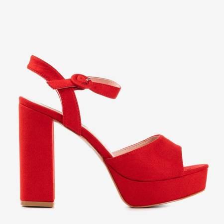 Czerwone eko-zamszowe sandały na wyższym słupku Lamberto - Obuwie