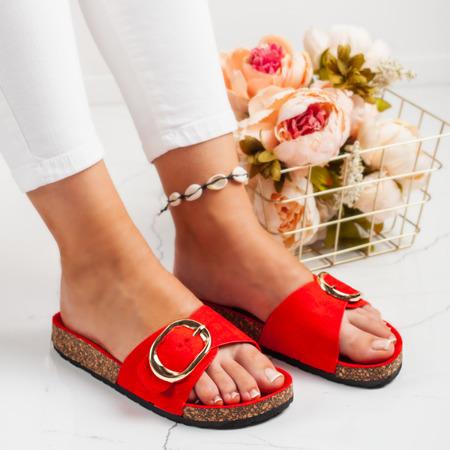 Czerwone klapki z klamrą Lojanni - Obuwie