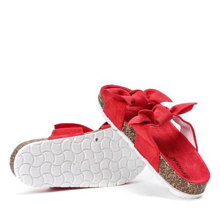 Czerwone klapki z kokardką Marecia - Obuwie