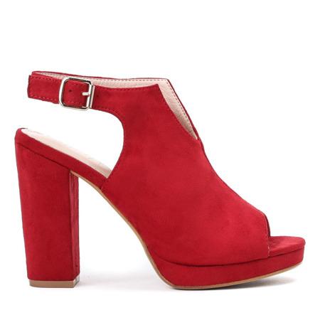 Czerwone sandały z cholewką na słupku Benetta - Obuwie