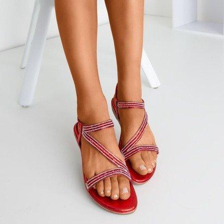 Czerwone sandały z cyrkoniami Litto - Obuwie