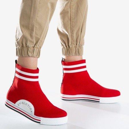 Czerwone sportowe buty damskie z ozdobną skarpetka Cyllene - Obuwie
