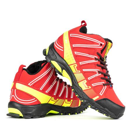 Czerwone sportowe damskie buty trekkingowe z neonową żółtą wstawką Everest Obuwie