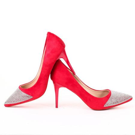 Czerwone, zdobione czółenka - Obuwie