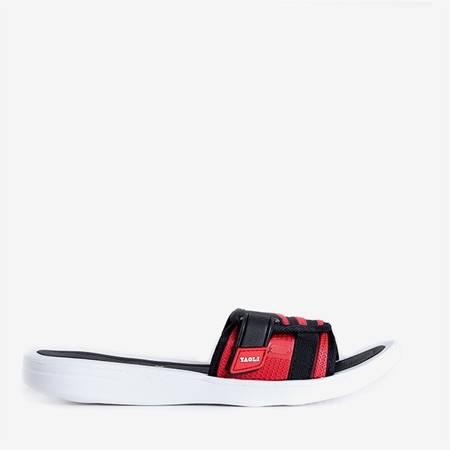 Czerwono-czarne damskie klapki Blons - Obuwie