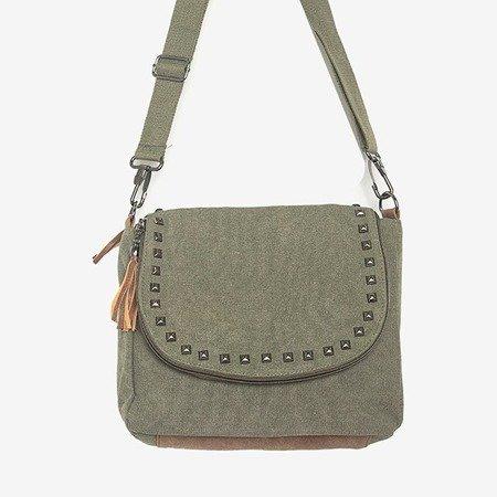 Damska torebka z ozdobami w kolorze khaki - Torebki
