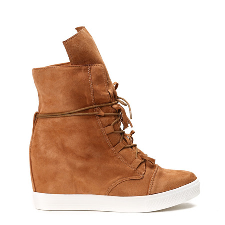 Damskie sneakersy na koturnie w jasnobrązowym kolorze Dies - Obuwie