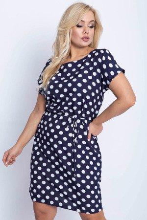 Granatowa sukienka w groszki PLUS SIZE - Odzież