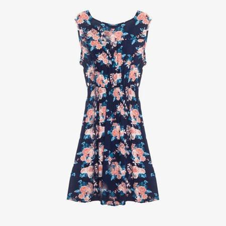 Granatowa sukienka w kwiatki - Odzież