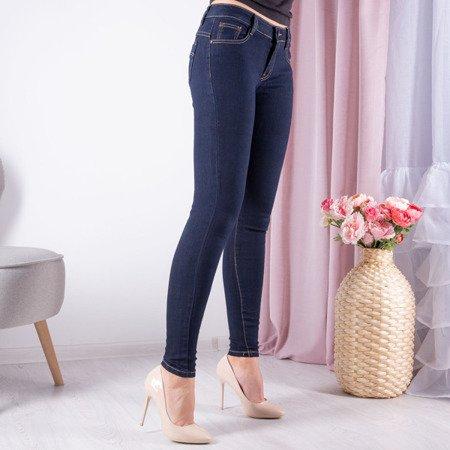 Granatowe dzianinowe spodnie - Spodnie