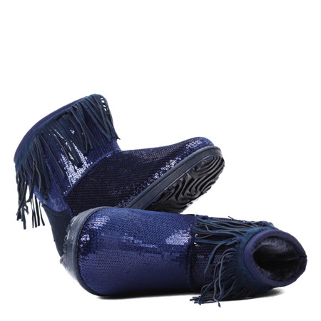 Granatowe śniegowce z cekinami - Obuwie