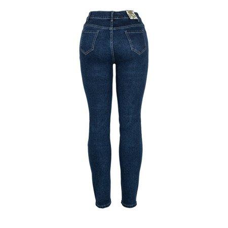 Granatowe spodnie jeansowe - Spodnie