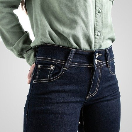 Granatowe spodnie ze złotą nicią - Spodnie