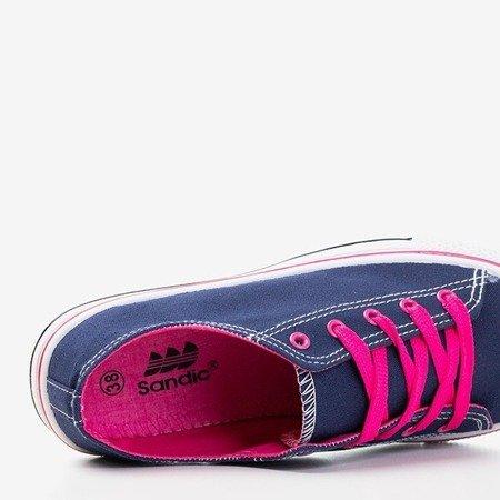 Granatowe trampki z różowymi sznurówkami Fips - Obuwie
