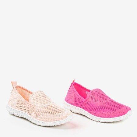 Jasnoróżowe sportowe buty damskie typu slip - on Boreia - Obuwie